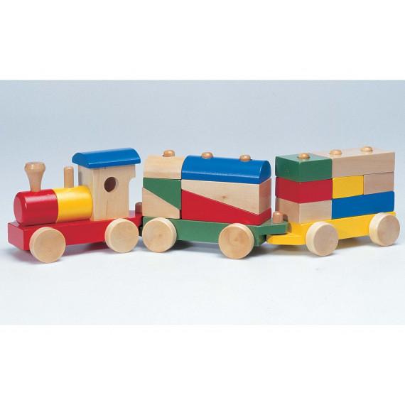 Train en bois avec 13 cubes de construction