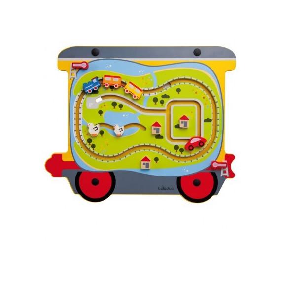 Jeu mural Train en bois