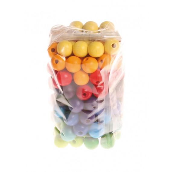 Perles multicolores en bois 12 mn X 120