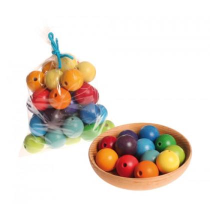 Perles multicolores en bois 30 mm X 36