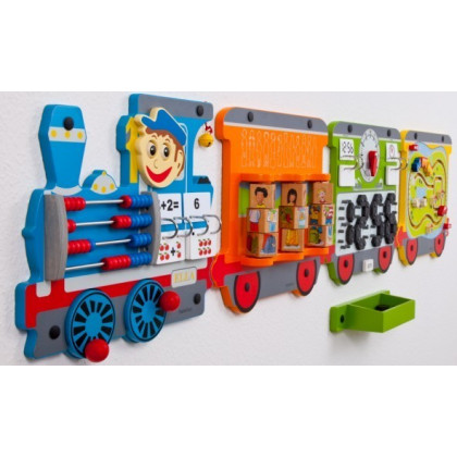 Jeu mural : Train et puzzle de cubes