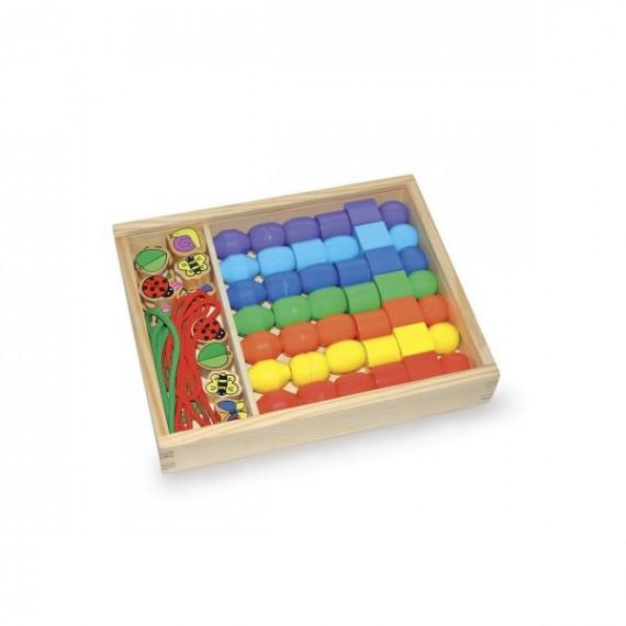 Boîte de grosses perles géométriques en bois