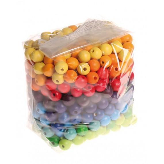 Perles multicolores en bois 12 mm X 480