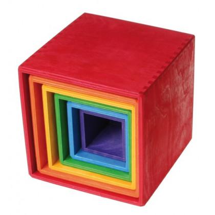 Cubes à empiler en bois multicolores