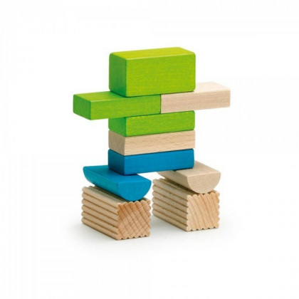 Assortiment de blocs de construction en bois coloré