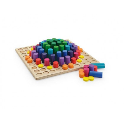 Plateau de 100 cylindres de couleur en bois