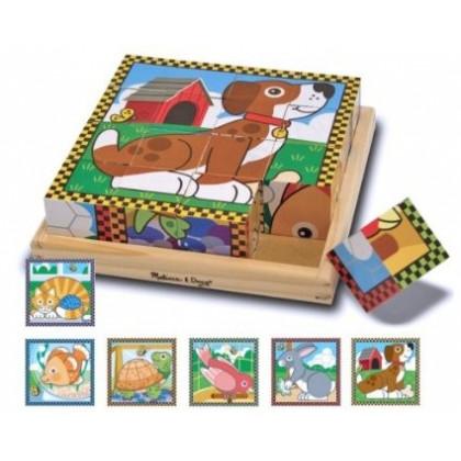 Puzzle de cubes en bois Animaux