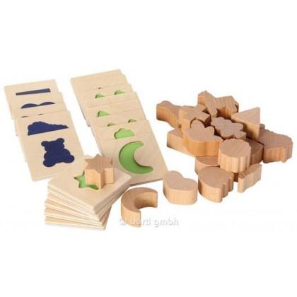 Jeu de reconnaissance tactile (20 formes bois)