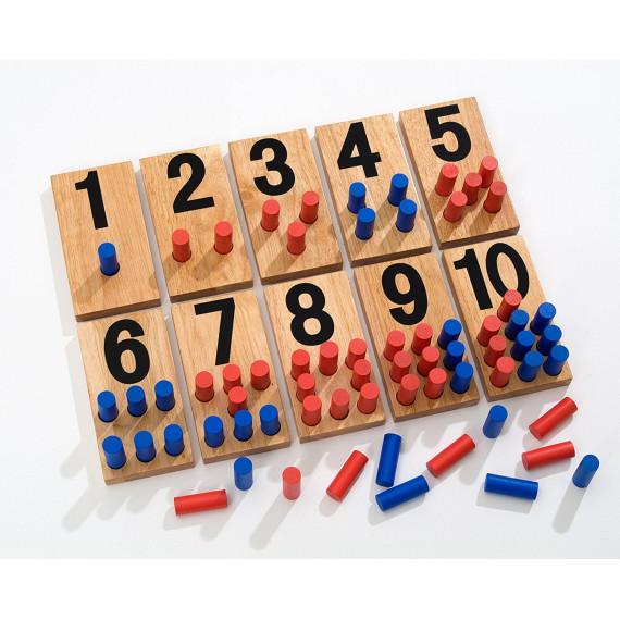 Jeu mathématique Montessori (Nombres et pions)